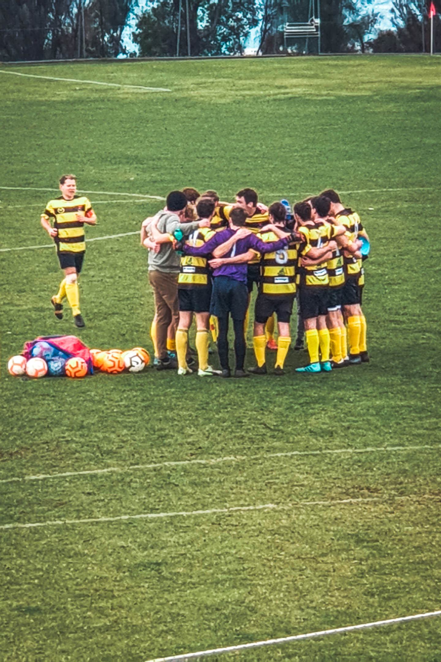 Pre-game huddle of men's team